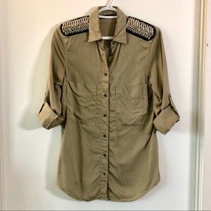 ZARA- Military Button Up Shirt